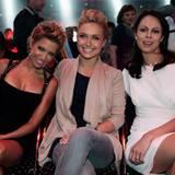 ... strahlt Hayden Panettiere zwischen Sylvie van der Vaart und Vitalis Frau Natalia Klitschko.