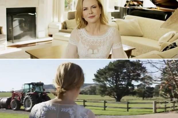 Hollywoodstar Nicole Kidman spielt die stylische Gastgeberin auf ihrer australischen Farm einfach perfekt und geht im Couturekleid Eier holen und wandert über ihre Wiesen mit den Angus-Rindern und ihren sechs Alpacas.