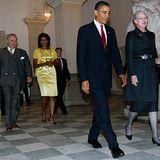 2. Oktober 2009: Alles nach Protokoll: Königin Margrethe betritt mit Barack Obama Schloss Christiansborg, Prinzgemahl Henrik und