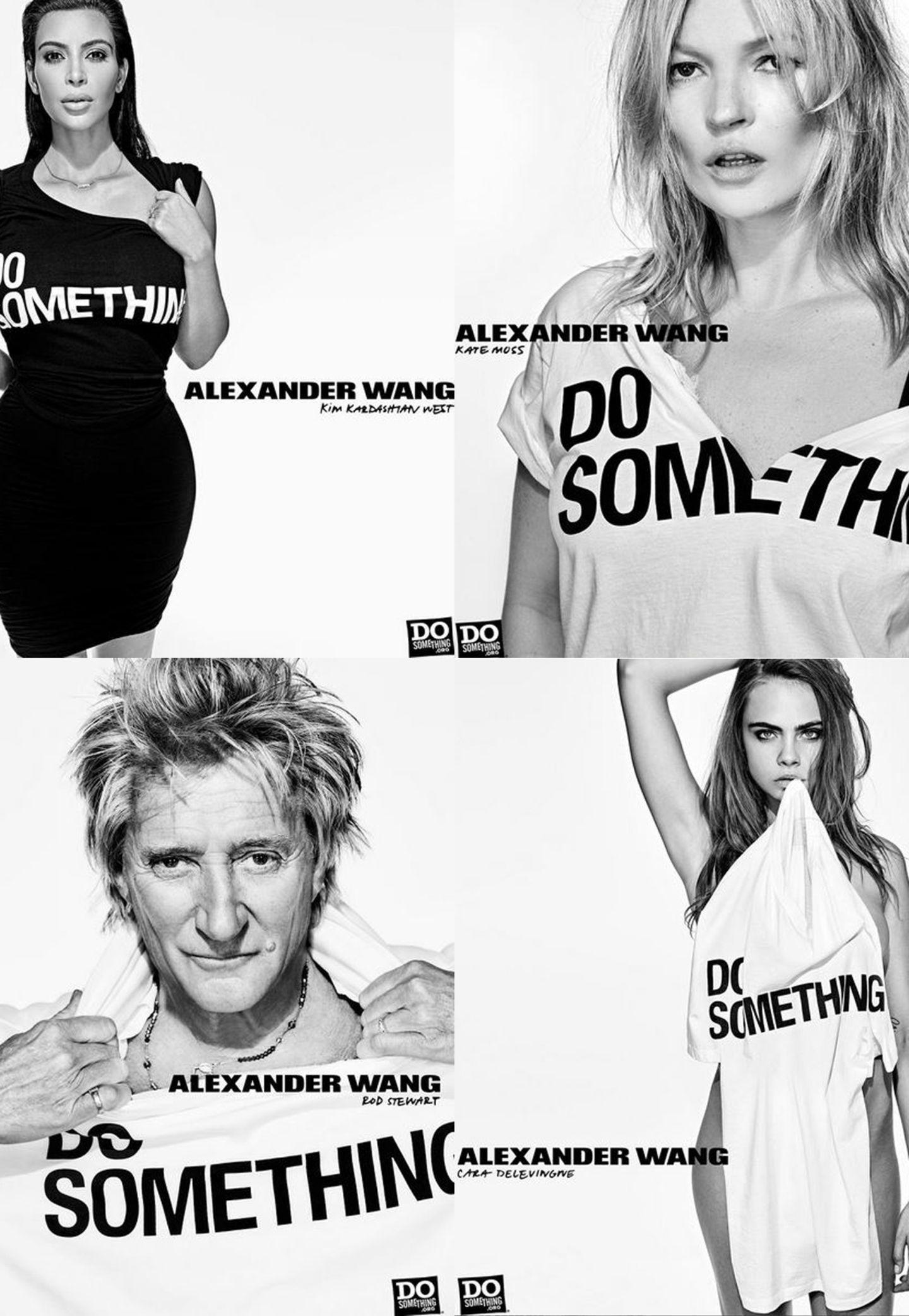 """Do something! Zum zehnjährigen Jubiläum seines Labels entwarf Alexander Wang Shirts und Hoodies, deren Erlös zu 50% an die New Yorker Stiftung """"Do Something"""" geht. Die Organisation hilft mittellosen Jugendlichen dabei, eine Persepektive für ihr Leben zu schaffen. Kim Kardashian, Rod Stewart und Co. leihen Wang ihre Gesichter für die dazugehörige Kampagne. Ingesamt 38 Promi-Freunde helfen mit. Erhältlich ist die Charity-Kollektion ab sofort in allen Alexander Wang Stores."""