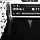 Seal versteckt sich hinter dem Schild und lässt seine Augen sprechen.