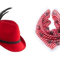 Oktoberfest-Fans ohne Dirndl können ihr Outfit mit einem Federhut oder einem Tuch im Wiesn-Look aufpeppen.