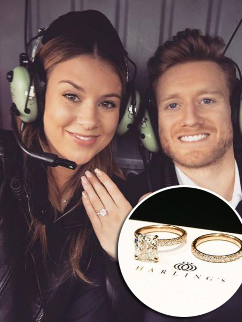 """Montana Yorke darf sich seit dem Jahreswechsel """"Future Mrs. Schürrle"""" nennen. Da steckt ihr nämlich der Star-Kicker Andre Schürrle diesen besonderen Ring an den Finger. Ein Schmuckstück, designt nach ihren Vorstellungen. Nachdem sie ihrem Liebsten anvertraut hat, dass sie sich einen rechteckigen Stein auf einem Diamantring vorstellt, sucht dieser den Juwelier """"Harling's"""" auf und lässt ihr das Einzelstück von Designer Chris anfertigen."""