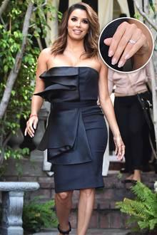 Die frischgebackene Braut Eva Longoria verlässt mit neuer Frisur den Ken Paves Salon in West Hollywood. Dabei können wir einen Blick auf ihren schlichten, roségoldenen Ring werfen.