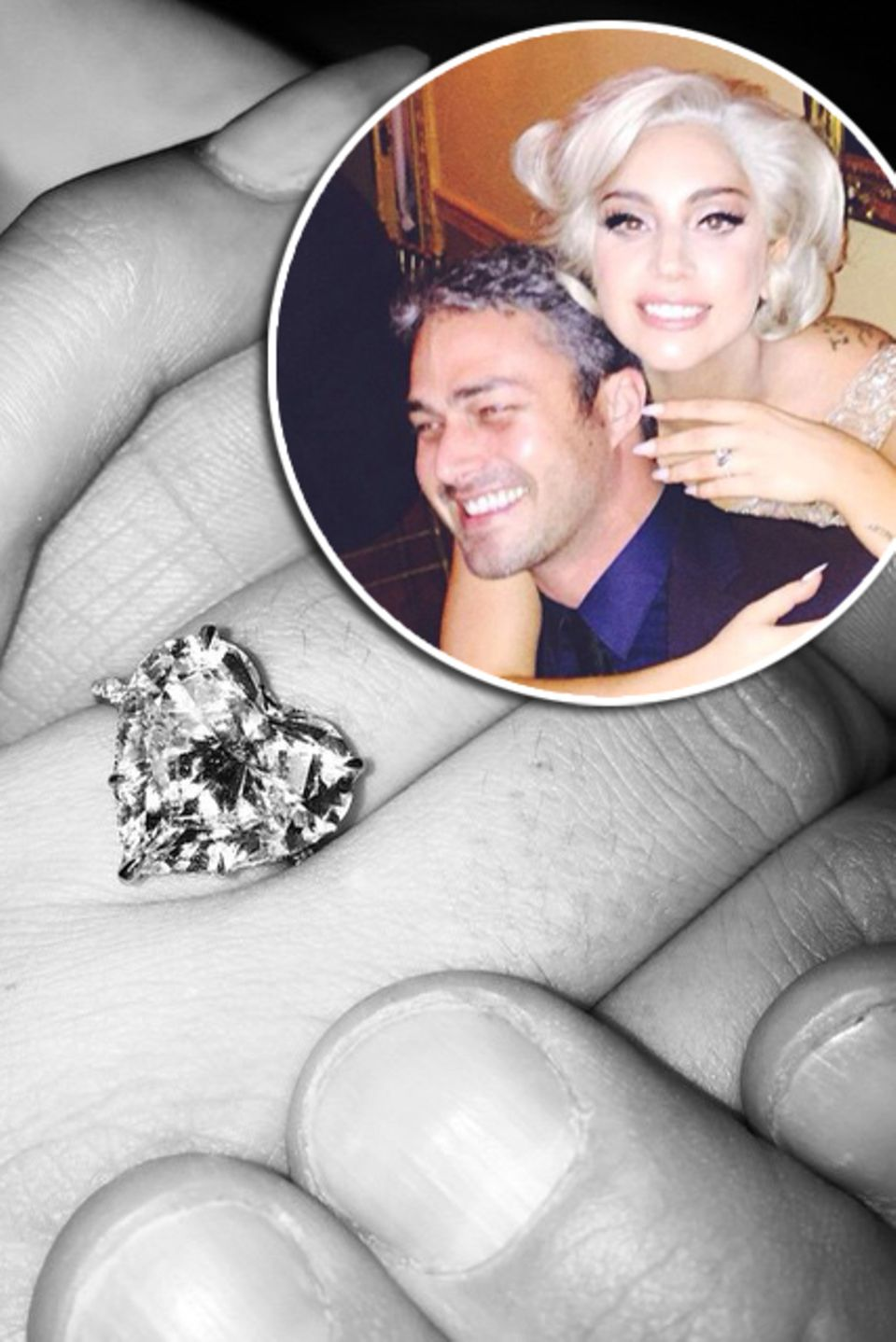 """Lady GaGa und Taylor Kinney  Lady Gaga zeigt ihren Verlobungsring bei Instagram und schriebt dazu: """"Er hat mir am Valentinstag sein Herz geschenkt und ich habe JA gesagt!"""". Taylor Kinney und die Sängerin sind seit vier Jahren ein Paar. Entworfen ist der Ring von der Schmuckdesignerin Lorraine Schwartz, und mit 6 Karat ein Schwergewicht unter den edlen Steinen. Auch der Preis lässt sich sehen, man munkelt er ist ca 500.000 Euro wert."""