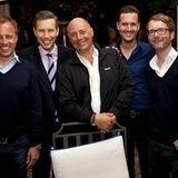 """Gala MEN Buddy Weekend: Die Gastgeber Peter Lewandowski (M.) und Marcus Luft (r.) mit Godo Krämer (Appelrath & Cüpper), """"La Resi"""