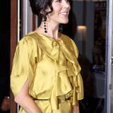 7. September 2010: Das auffällige gelbe Kleid mit den großen Raffungen im Brustbereich steht der Prinzessin ausgezeichnet.