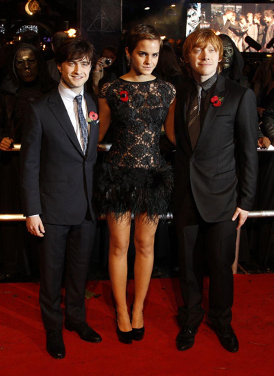 Die Hauptakteure zusammen auf dem roten Teppich in London: Daniel Radcliffe, Emma Watson und Rupert Grint.
