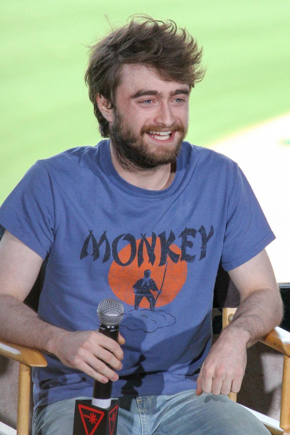 """11. Juli 2015: Der Schauspieler Daniel Radcliffe promotet seinen neuen Film """"Victor Frankenstein""""."""