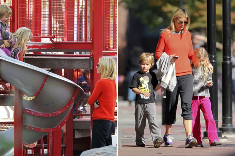 16. Oktober 2011: Gwyneth Paltrow geht mit ihren Kindern Apple Blythe Alison und Moses Bruce Anthony in New York auf einen Spiel