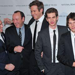 Gute Laune auf dem roten Teppich: Produzent Dana Brunetti, Kevin Spacey, Armie Hammer, Andrew Garfield und Jesse Eisenberg (v.l.
