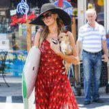 Ihr kleines Hündchen trägt Paris Hilton schützend im Arm - auf dem farbenfrohen Maxikleid der Millionenerbin sind dagegen Hunderte Pferde in Schwarz und Weiß zu sehen. Toll dazu: die farblich abgestimtme Kombination aus Sonnenhut und XXL-Sonnenbrille.
