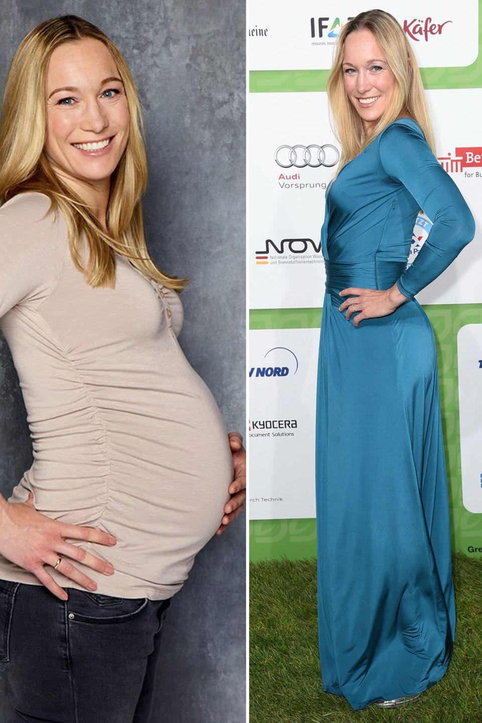 Wow, was für eine Leistung! Kickboxerin und TV-Moderatorin Dr. Christine Theiss zeigt nur fünf Wochen nach der Geburt von Tochter Cosima ihren schlanken After-Baby-Body.