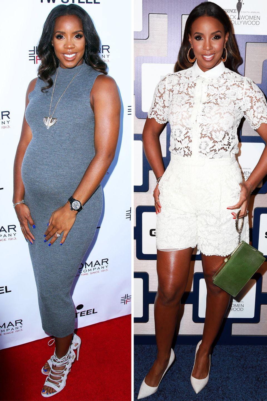 Kelly Rowland  Zwischen diesen beiden Bildern liegt ein halbes Jahr. Kelly Rowland ist mit ihrem Körper rundum zufrieden. Anfang November kam ihr kleiner Titan Jewell zur Welt.