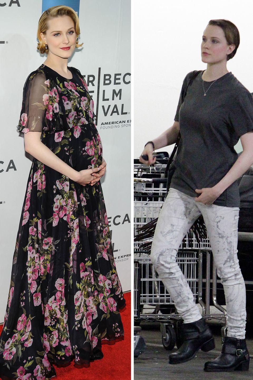 Evan Rachel Wood  Ende Juli 2013 hat Evan Rachel Wood ihr Söhnchen zur Welt gebracht. Nur wenige Wochen später sieht sie wieder sehr schlank aus. Allerdings hatte sie auch während der Schwangerschaft - außer am Bauch natürlich - offenbar nicht viel zugenommen.