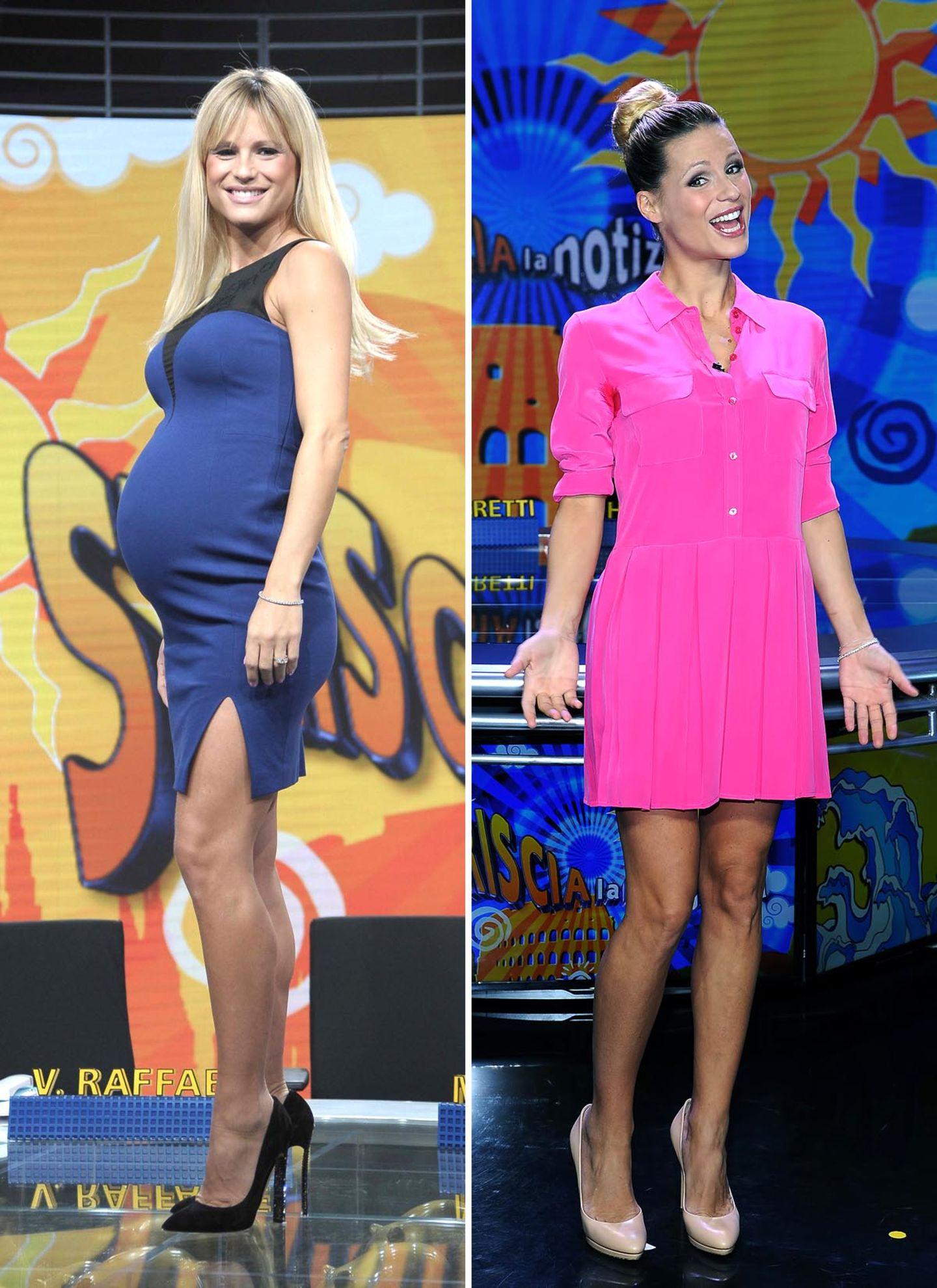 Michelle Hunziker  Am 9. Oktober 2013 hat die Moderatorin in Mailand ein gesundes Mädchen zur Welt gebracht. Nur vier Tage nach der Geburt ihrer zweiten Tochter Sole zeigt sich Michelle Hunziker wieder in Topform im italienischen Fernsehen.
