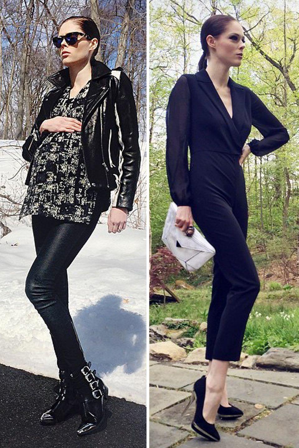 Coco Rocha  Diese beiden Bilder liegen knapp 2 Monate auseinander. Das Model hat auch während der Schwangerschaft kaum zugenommen und ist nach der Geburt ihres ersten Kindes, Tochter Ioni, schlank wie eh und je.