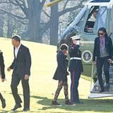 Die Präsidentenfamilie landet nach ihrem Weihnachtsurlaub auf Hawaii wieder sicher in Washington.