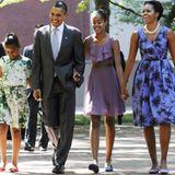 Sonntagsausflug: Die Obamas kommen aus der Kirche.