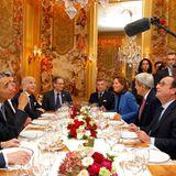 Während seines 2-tägigen Besuchs in Franreich, kommt die Verpflegung bei Gastgeber Francois Hollande nicht zu kurz.