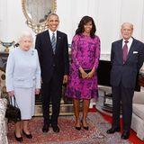 22. April 2016: Einen Tag nach ihrem 90. Geburtstag empfängt Queen Elizabeth mit ihrem Mann Prinz Philip hohen Staatsbesuch. US-Präsident Barack Obama und First Lady MNichelle Obama sind zu Gast in Windsor Castle.