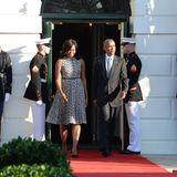 Das Tagesprogramm: Die First Lady Michelle Obama und Barack Obama vor dem weißen Haus. Sie empfangen den italienischen Ministerpäsidenten Matteo Renzi und seine Frau.