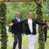 """23. August 2012: Prinzessin Victoria und Prinz Daniel weihen den """"Kronprinsessan Victoria och Prins Daniels""""-Liebespfad, ein Hoc"""