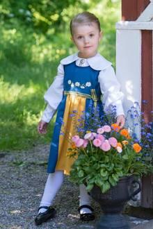 6. Juni 2015  Prinzessin Estelle stimmt die Schweden mit einem süßen Bild auf den Nationalfeiertag an und trägt dafür natürlich die blau-gelbe Nationaltracht. Den ganzen Tag lang wird gefeiert - und die ganze königliche Familie nimmt daran teil. Traditioneller Abschluss ist immer ein Konzert am Abend.