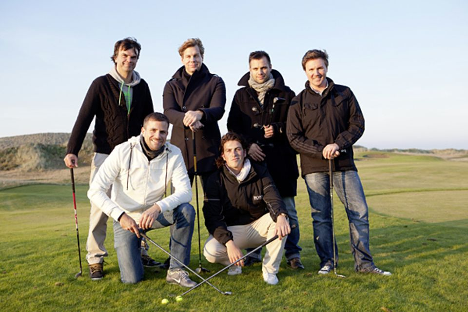Fast schon Golf-Profis: André Pollmann, Wolfgang Lange, Thomas Heinze, Sascha Georgi, Ole Tillmann und Randy Dohack