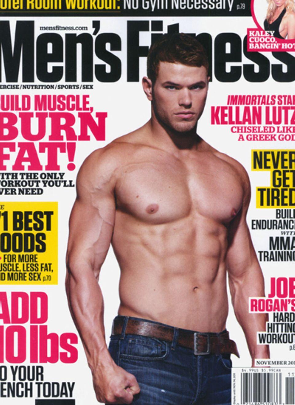 """Auch Kellan Lutzb kurbelt den Medienrummel um """"Breaking Dawn"""" mit seinem Foto auf dem Cover der """"Men's Fitness"""" ordentlich an."""