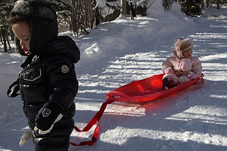 Spaß im Schnee: Monroe weiß schon, wie sich eine echte Diva im Schnee fortbewegt und lässt sich von Bruder Moroccan ziehen.