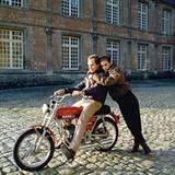 Stars & Bikes - Prominente und ihre Motorräder:  Prinzessin Stéphanie von Monaco und Prinz Albert von Monaco auf einer Garelli Re