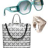 1. So bringt Geometrie Spaß! Tasche von Marni, ca. 860 Euro;  2. Brille von Balenciaga Eyewear, ca. 300 Euro;   3. Kunst: Ring von