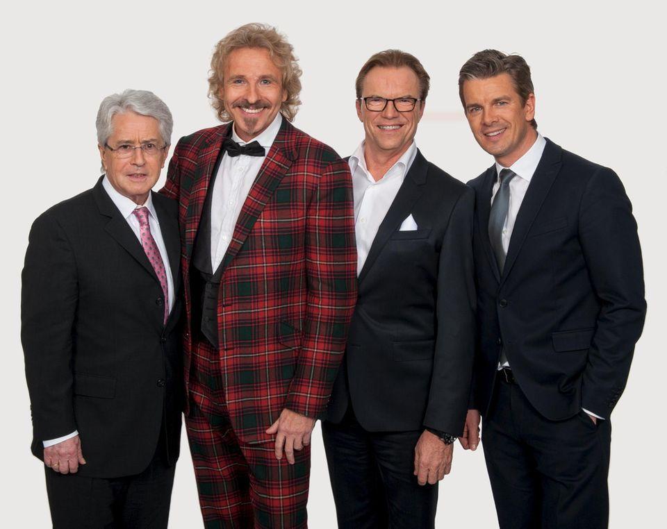 Alle Moderatoren auf einem Bild: Frank Elstner, Thomas Gottschalk, Wolfgang Lippert, Markus Lanz