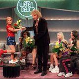 """22. März 1997: Thommy begrüsst die """"Spice Girls"""" in Wien."""