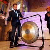 23. August 2012: Prinz Haakon eröffnet gemeinsam mit US-Entertainer Harry Belafonte das Melafestivals im Rathaus in Oslo.