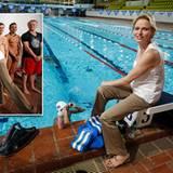 18. Juli 2012: Fürstin Charlène besucht das olympische Schwimmteam aus Südafrika bei einer Trainingseinheit in der Schwimmhalle