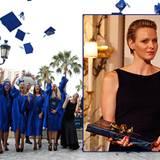"""19. Juni 2012: Fürstin Charlène freut sich mit den Absolventen der """"International School of Monaco"""" (ISM) in Monte Carlo."""