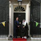 23. August 2012: Der britische Premier David Cameron empfängt in der Downing Street No. 10 in London den König von Bahrain Hamad