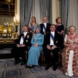17. April 2012: Prinz Willem-Alexander, Prinzessin Máxima, Pieter van Vollenhoven, Prinzessin Margriet und Königin Beatrix empfa