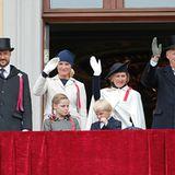 17. Mai 2012: Am Nationalfeiertag begrüßt die Königsfamilie ihre Norweger vom Balkon des Königspalastes in Oslo.