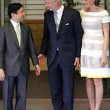 11. Juni 2012: Prinz Philippe und Prinzessin Mathilde von Belgien werden in Japan von Kronprinz Naruhito im Togu Palast in Tokio