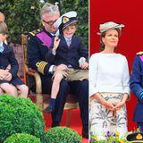 21. Juli 2012: Am belgischen Nationalfeiertag versammelt sich die Königsfamilie zur Parade vor dem Königspalast in Brüssel: Prin