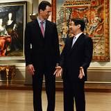 """2. Oktober 2012: Japans Kronprinz Naruhito empfängt Kronprinz Alois von Liechtenstein im """"National Art Center"""" in Tokio."""