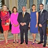 15. August 2012: Königin Silvia, Prinzessin Victoria und Prinz Daniel von Schweden empfangen Brasiliens Vizepräsident Michel Tem