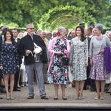 19. Juni 2012: Prinz Joachim, Prinzessin Marie, Prinz Henrik, Königin Margrethe, Prinzessin Mary und Prinzessin Benedikte geben