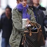 17. Oktober 2012: Noch nicht ganz wach geht Judy Greer zur Probe ihres Broadway-Stücks.