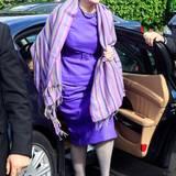 Bei einem Staatsbesuch in Italien können die Römer Königin Margrethe in Fliedertönen bewundern.