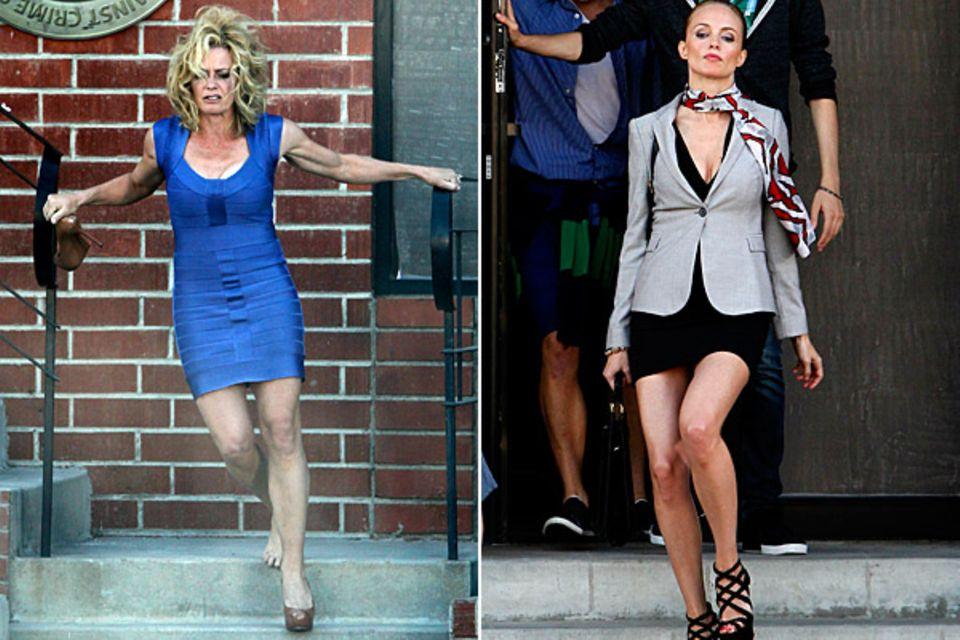 """23. August 2012: Elisabeth Shue und Heather Graham stehen für """"Feed The Dog"""" vor der Kamera."""