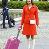 """4. Mai 2012: Kunterbunt geht es für Lea Michele am Set von """"Glee"""" in New York zu."""